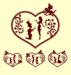 Silhouettes of boy and girl with cupid set vector