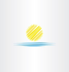 Summer icon sun and sea water vector