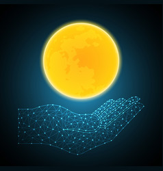 technology polygon geometric hand holding moon vector image vector image