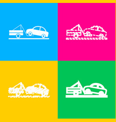 Tow truck sign four styles of icon on four color vector