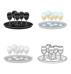 Tray with champagne glasses icon in cartoon style vector