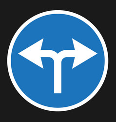 Turn left or right traffic sign flat icon vector