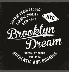 vintage brooklyn typography for t-shirt print vector image vector image