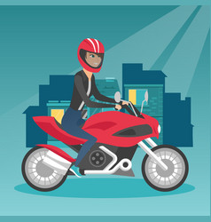 Young caucasian woman riding a motorcycle at night vector