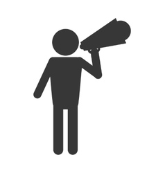 Man with megaphone pictogram icon vector