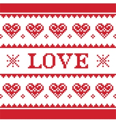 Valentines day love knitted pattern card vector
