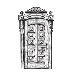 Hand drawn vintage door sketch vector
