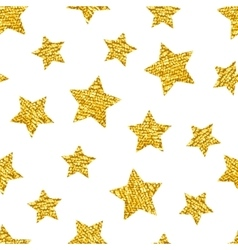 Seamless pattern with gold shine glitter stars on vector