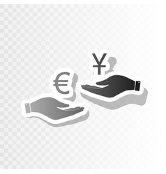 Currency exchange from hand to hand euro and yuan vector