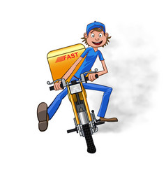 Young man working the fast delivery riding on vector