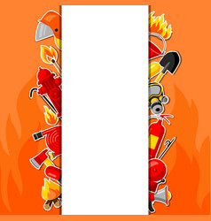 Background with firefighting sticker items fire vector
