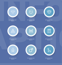 Set of 9 editable folks outline icons includes vector
