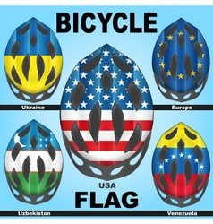 Icons bicycle helmets and flags countries vector