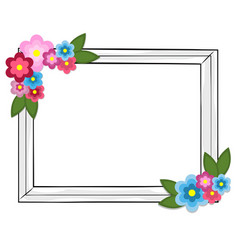Rectangular photo frame colorful flowers isolated vector
