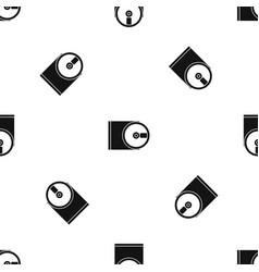 dvd drive open pattern seamless black vector image