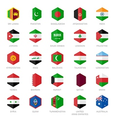Asia middle east and south asia flag icons hexagon vector