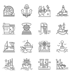 Ships and ports line icons vector