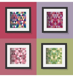 Set of colorful triangle patterns in frames vector
