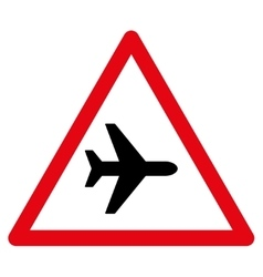 Airplane warning flat icon vector