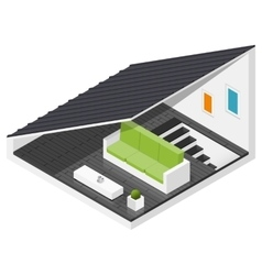 Attic of a private house isometric icon set vector