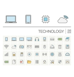 Digital technology color icons vector