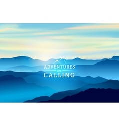 Blue sunrise in the mountains - background vector