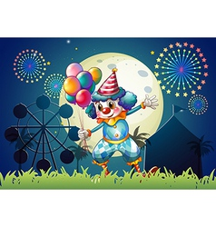A clown with balloons standing in front of the vector image