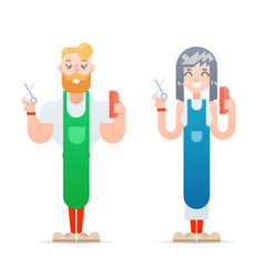 barber hipster geek characters male and female vector image vector image
