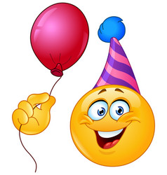 birthday emoticon with balloon vector image vector image