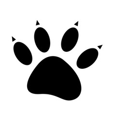 Black silhouette dog footprint icon vector