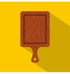 Brown wooden cutting board icon flat style vector