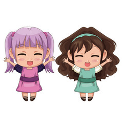 Colorful full body couple cute anime girl facial vector