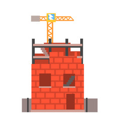 Construction of a brick house vector