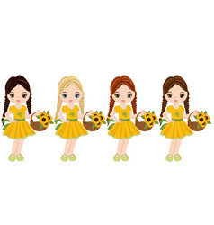 Cute little girls with baskets of flowers vector