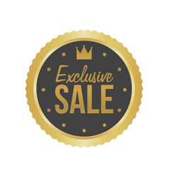Exclusive sale gold sign round label vector