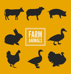 Farm animals silhouettes collection isolated on vector