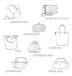 Fashion bags icon vector