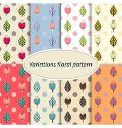 Flower patterns set vector image