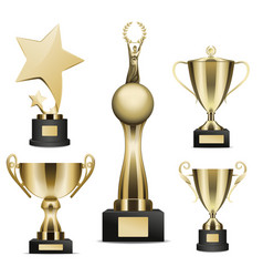 golden trophy cups realistic collection vector image vector image