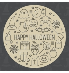 Halloween icons set in circle shape vector image