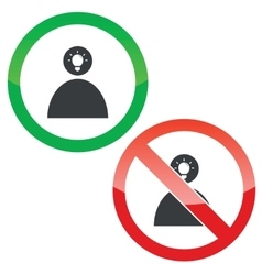 Idea permission signs set 2 vector image vector image