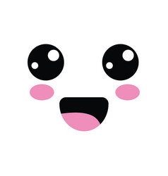 kawaii cute happy face with mouth and cheeks vector image vector image