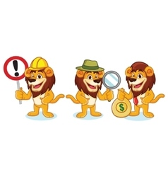 Lion mascot with money vector