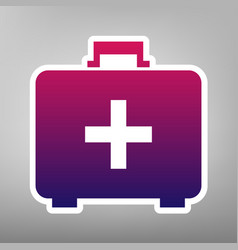 Medical first aid box sign purple vector