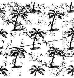 Palm tree pattern grunge monochrome vector image