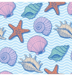 Sea hand drawn seamless pattern vector image vector image
