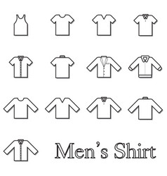 set of men shirt line icon vector image vector image