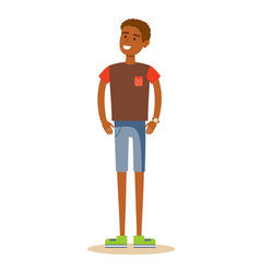 Smiling young man in t-shirt vector