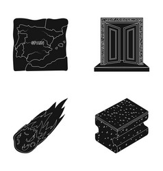 travel space and or web icon in black style vector image