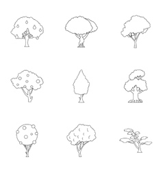 Types of trees icons set outline style vector